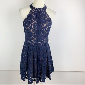 Altar'd State Navy Eyelet Fit Flare Dress L B1588